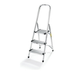 POLDER - 3 step Ultralight Ladder, Chrome - Bring home our 3-step Ultralight Ladder, this ultra-lightweight three-step ladder offers a safe, effective way for you to access hard-to-reach places in your home. The extra-high handrail provides you with additional balance.