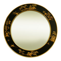 China Furniture and Arts - 37in Chinoiserie Round Mirror - As if a work of art, this mirror is exquisitely hand-painted with traditional Chinoiserie landscape scenery on black lacquer. Its round shape is perfect to accompany a sideboard in the hallway or powder room. Brass hanger included. Beveled mirror.