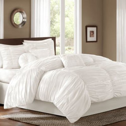 E & E Co., Ltd. - Sidney Comforter Set in White - The Sidney bedding collection comes with everything you need for a soft and fluffy bed you can't wait to climb into. The top of bed features a billowing, ruched fabric, while the included decorative pillows spice things up with different shapes.