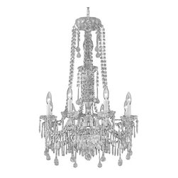 "The Gallery - New Crystal Chandelier Murano Venetian Style Chandeliers Lighting 24""X34"" - THIS MAGNIFICENT CHANDELIER IS ALL 100% CRYSTAL. Nothing is quite as elegant as the fine crystal chandeliers that gave sparkle to brilliant evenings at palaces and manor houses across Europe. This beautiful chandelier is decorated with 100% crystal that capture and reflect the light of the candle bulbs, each resting in a scalloped bobache. The crystal glass arms of this wonderful chandelier give it a look of timeless elegance that is sure to lend a special atmosphere in any home.Assembly Required  Specification"