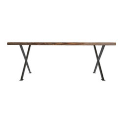 Urban Wood Goods - Industrial Modern X Frame Reclaimed Wood Table - X marks the spot where you'll gather for dinner, set up your laptop for work, check your mail and spread out your craft projects. This X-frame desk is designed to become the cross road of your day's activities. And, being crafted of handsomely aged, reclaimed wood planks, it's no stranger to a wide assortment of human adventures.