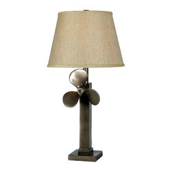 Kenroy Home - Kenroy 32129WS Prop Table Lamp - The sculptural quality found in common objects was the drive behind Prop.  Inspired, with a rich Weathered Steel finish, the mounted boat propeller adds real visual interest to a room.