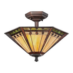 Quoizel - Quoizel TFAN1714RS Arden Tiffany Semi Flush Mount Ceiling Light - This transitional family comes with an authentic bronze patina for the floor & table lamps while the fixtures boast a rich Russet finish.