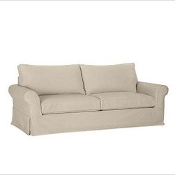 """PB Comfort Slipcovered Roll Sleeper Sofa, Polyester Wrap Cushions, Twill Parchme - Built by our exclusive master upholsterers in the heart of North Carolina, our PB Comfort Slipcovered Sleeper Sofa iis designed for unparalleled comfort with deep seats and three layers of padding. 88.5"""" w x 40"""" d x 37"""" h {{link path='pages/popups/PB-FG-Comfort-Roll-Arm-4.html' class='popup' width='720' height='800'}}View the dimension diagram for more information{{/link}}. {{link path='pages/popups/PB-FG-Comfort-Roll-Arm-6.html' class='popup' width='720' height='800'}}The fit & measuring guide should be read prior to placing your order{{/link}}. Seat cushions have a lofty polyester padding. Choice of knife-edged or box-style back cushions. Proudly made in America, {{link path='/stylehouse/videos/videos/pbq_v36_rel.html?cm_sp=Video_PIP-_-PBQUALITY-_-SUTTER_STREET' class='popup' width='950' height='300'}}view video{{/link}}. For shipping and return information, click on the shipping tab. When making your selection, see the Quick Ship and Special Order fabrics below. {{link path='pages/popups/PB-FG-Comfort-Roll-Arm-7.html' class='popup' width='720' height='800'}} Additional fabrics not shown below can be seen here{{/link}}. Please call 1.888.779.5176 to place your order for these additional fabrics."""