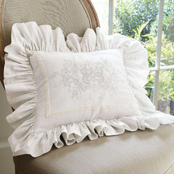 Ruffle Embroidered Boudoir Pillow - Our Soft Surroundings Ruffle Bedding Collection has exquisite detailing - like gently frayed edges - to only add to that rich, quality-crafted look.