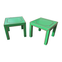 Green Side Tables with Brass Nailhead - A Pair - Dimensions 15.75ʺW × 15.75ʺD × 18.0ʺH