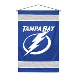 Sports Coverage - Tampa Bay Lightning Sideline Wallhanging - Tampa Bay Lightning Sideline Wallhanging, a great gift for the ultimate fan or a great way to deck out the bedroom with your favorite team. This Wallhanging is screen-printed with bold logo and team colors will carry your team spirit into any room. Each NHL Wall Hanging banner comes with wooden dowel at top and attached hanging cord. 100% Polyester.