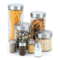 Cook N Home - Cook N Home Glass Canister and Spice Jar Set, 8-Piece - 8-Piece glass canister and spice jar set, include following most common used size, 27-ounce (800ml), 40-ounce (1.2-liter), 54-ounce (1.6-liter), 74-ounce (2.2-liter) and spice jar 4-piece each 5-ounce (150ml).
