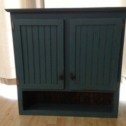Primitive Woodworks - This is a solid Pine Medicine Cabinet with a distressed, antique teal finish and pewter starfish knobs. Built to order, choose your color, finish and hardware.