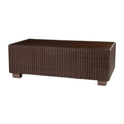Whitecraft by Woodard Montecito Rectangular Cocktail Table - The Whitecraft by Woodard Montecito Rectangular Cocktail Table looks European, but it's made in South Carolina by Woodard's dedicated craftsmen. It's designed to hold decor pieces, beverages, hors d'ouvres, and more. Gorgeous hand-woven synthetic wicker in a striking Coffee finish has variation in hues to mimic the look of natural fiber. But unlike traditional wicker and rattan, high density polyethylene (HDPE) does not deteriorate with exposure to UV rays, heat, cold, or humidity. It won't peel, crack, rot, chip, or release dangerous compounds into the environment. It's not prone to deformation due to heat. The color and UV-protection are integral to each strand, so you'll never need to stain or seal. The open weave discourages heat retention and promotes fast drying. Spills are taken care of with simple soap and water, and it resists rot and pests. Concealed beneath the wicker, there's corrosion-resistant, powder-coated aluminum frame that comes fully assembled. And you'll be glad to know that this table is 100% recyclable.Woodard: Hand-crafted to Withstand the Test of TimeFor over 140 years, Woodard craftsmen have designed and manufactured products loyal to the timeless art of quality furniture construction. Using the age-old art of hand-forming and the latest in high-tech manufacturing, Woodard remains committed to creating products that will provide years of enjoyment.Most Woodard furniture is assembled by experienced professionals before being shipped. That means you can enjoy your furniture immediately and with confidence.Together, these elements set Woodard furniture apart from all others. When you purchase Woodard, you purchase a history of quality and excellence, and furniture that will last well into the future.Important NoticeThis item is custom-made to order, which means production begins immediately upon receipt of each order. Because of this, cancellations must be made via telephone to 1-800-351-5699 within 24 hours of order placement. Emails are not currently acceptable forms of cancellation. Thank you for your consideration in this matter.