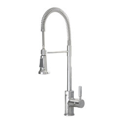 "Premier Faucet - Premier Essen Lead Free Commercial Style Pull-Down Kitchen Faucet in Chrome - This is a brand new faucet from Premier (model # 120333LF). Essen's ""commercial-style"" pull-down kitchen faucet brings the look and feel of a gourmet restaurant to your home's kitchen. With the convenience and precision of single-handle control and the durability of its ceramic disc cartridge, the Essen kitchen faucet will become the workhorse of your kitchen while providing the industrial appearance of a professional kitchen. Change from a steady stream to a powerful, high-volume spray with a touch of a button—filling and rinsing large cookware has never been easier. Its impressive height, 22-9/16 inches, and attractive stainless steel hose protector coil add contemporary appeal to any kitchen decor. For a modern look and extreme flexibility, choose the Essen kitchen faucet in a classic chrome finish. It can be mounted in one-hole or three-hole sinks; it includes an optional deck plate. For four-hole sinks, choose a matching Premier soap dispenser (Premier 120442, sold separately) to complete a coordinated look. It complies with the requirements of the Uniform Plumbing Code and the Americans with Disabilities Act. Essen, with its stunning style and chic appeal, is the epitome of neoteric design in faucets. It includes Premier's industry-leading Limited Lifetime Warranty. This faucet meets the strict lead-free requirements of California and Vermont."