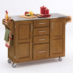 "Home Styles - Kitchen Cart with Stainless Steel Top - This kitchen island cart features solid wood construction, heavy duty casters, concealed storage, and so much more! Features: -Stainless steel top.-MDF insert panels for increased strength.-Four storage drawers with metal drawer suspensions.-Enclosed storage inside cabinet doors.-Brushed chrome pulls.-Adjustable condiment or spice caddy.-Adjustable towel bar.-Heavy duty casters, with front casters locking.-Solid wood construction.-Product Type: Kitchen Cart.-Collection: Create-a-Cart.-Counter Finish: Stainless steel.-Hardware Finish: Brushed steel .-Distressed: No.-Powder Coated Finish: No.-Gloss Finish: No.-Base Material: Wood.-Counter Material: Stainless steel.-Hardware Material: Brushed steel.-Solid Wood Construction: Yes.-Number of Items Included: 1.-Water Resistant or Waterproof Cushions: No.-Stain Resistant: No.-Warp Resistant: No.-Exterior Shelves: No.-Drawers Included: Yes -Number of Drawers: 4.-Push Through Drawer: No..-Cabinets Included: Yes -Number of Cabinets : 2.-Double Sided Cabinet: No.-Adjustable Interior Shelves: Yes.-Number of Doors: 2.-Locking Doors: No.-Door Handle Design: Linear pulls..-Towel Rack: Yes -Removable Towel Rack: No..-Pot Rack: No.-Spice Rack: Yes .-Cutting Board: No.-Drop Leaf: No.-Drain Groove: No.-Trash Bin Compartment: No.-Stools Included: No.-Casters: Yes -Locking Casters: Yes..-Wine Rack: No.-Stemware Rack: No.-Cart Handles: No.-Finished Back: Yes.-Commercial Use: No.-Recycled Content: No.-Eco-Friendly: No.-Product Care: Clean with a damp cloth.Specifications: -ISTA 3A Certified: Yes.Dimensions: -Overall Height - Top to Bottom: 35.5"".-Overall Width - Side to Side: 48"".-Overall Depth - Front to Back: 17.75"".-Width Without Side Attachments: 44.5"".-Height Without Casters: 31.75"".-Countertop Thickness: 1.25"".-Countertop Width - Side to Side: 44.5"".-Countertop Depth - Front to Back: 17.75"".-Shelving: -Shelf Width - Side to Side: 12.5"".-Shelf Depth - Front to Back: 12.75""..-Leaf: No.-Drawer: -Drawer Interior Height - Top to Bottom (Small Drawers) : 3"".-Drawer Interior Height - Top to Bottom (Large Drawer) : 8.5"".-Drawer Interior Width - Side to Side: 10.25"".-Drawer Interior Depth - Front to Back: 11.5""..-Cabinet: -Cabinet Interior Height - Top to Bottom: 28.5"".-Cabinet Interior Width - Side to Side: 12.5"".-Cabinet Interior Depth - Front to Back: 12.75""..-Overall Product Weight: 135 lbs.Assembly: -Assembly Required: Yes.-Tools Needed: Phillips screwdriver.-Additional Parts Required: No.Warranty: -Product Warranty: Vendor replaces parts for 30 days."