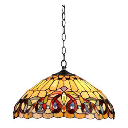 Chloe Lighting - Serenity 2 Light Ceiling Pendant Fixture - Note: Shade colors will appear darker and less vibrant when not illuminated.. The handcrafted nature of this product creates variations in color, size and design. If buying two of the same item, slight differences should be expected.. This stained glass product has been protected with mineral oil as part of the finishing process. Please use a soft dry cloth to remove any excess oil. . Due to the nature of stained-glass, colors may vary. Glass, metal & electrical components. Overall: 18.1 in. L x 18.1 in. W x 8.5 in. H (7.5 lbs.)SERENITY, Tiffany-style Victorian ceiling pendant is handcrafted with pure stained glass. ���� Each glass piece individually positioned to create the perfect look and crystal gems to highlight the perfection. ���� Exquisite touches create warmth and serenity. ���� Expertly crafted with top quality materials.