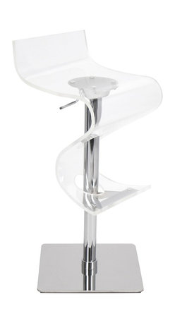 Lumisource - Viva Acrylic Bar Stool, Clear - 16 L x 16 W x 32 - 39 H