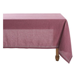 "Coyuchi - Simple Stitch Chambray Tablecloth 70""x108"" Orchid w/Pewter - Linen and cotton yarns, dyed slightly different hues before weaving, lend our tablecloth soft, nuanced color and wonderful drape. Stitched stripes run along each edge and cross at the corners."
