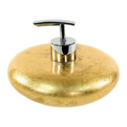 Gedy - Gold Round Soap Dispenser - Gold is the standard and this soap dispenser is certainly setting the standard in luxury bathrooms. Its low, wide silhouette makes a statement in your bathroom. The Italians know what they like and what you like too.