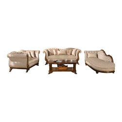 Cosmos Furniture - 3PC Victorian Ivory Button Tufted Fabric Upholstery And Decorative Pillows - The Marcia Collection from Cosmos Furniture comes in an ivory fabric upholstery finish.  The backrest has added appeal with button tufted design.  The plush cushion seating comes in a beige multi pattern finish.  Nailed trim head finish along the sides of the bronze wood finish frames.  The Marcia also comes with plenty decorative pillows for added decor for your living space.