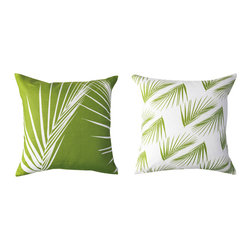 Kaypee Soh - Palm Pillow - Lime Green - Inspired by the sunny, swaying palms of the tropics, this all time classic motif draws on feelings of relaxation and tropical bliss.