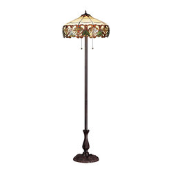Z-Lite - Z-Lite 3 Light Floor Lamp - Inspired by nature, this floor lamp displays green leaf motifs encircled by sweeping amber patterns on a beige background, adding a warm touch of light and nature to any room of the house. This fixture is finished in chestnut bronze.