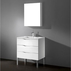 """Madeli - Madeli Milano 30"""" Bathroom Vanity with Quartzstone Top - Glossy White - Madeli brings together a team with 25 years of combined experience, the newest production technologies, and reliable availability of it's products. Featuring sleek sophisticated lines Madeli vanities are also created with contemporary finishes and materials. Some vanities also feature Blum soft-close hardware. Madeli also includes a Limited 1 Year Warranty on Glass Vessels, Basin, and Counter Tops. Features Three Drawer Vanity Glossy White finish Soft-close drawer glides Four polished chrome feet 1-1/4""""H Quartzstone Countertops come in White or Soft Grey finish Quartzstone Countertops come with single faucet or 8"""" widespread faucet holes Ceramic undermount sink with overflow Faucet and drain are not included No backsplash Matching mirror and medicine cabinet available Limited 1 Year Warranty on Glass Vessels, Basin, and Counter Tops How to handle your counter Spec Sheet Installation Instructions -->"""
