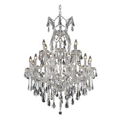"""PWG Lighting / Lighting By Pecaso - Karla 19-Light 32"""" Crystal Chandelier 2381D32C-RC - Karla was an Empress from 1740 to 1780 in the waning days of the Baroque period. The Baroque love of embellishment is highlighted in the elaborate crystal swags and drops that fully dress these fixtures in a look that is pure luxury. From the gold or chrome finish to the fully lavish crystal dressing, this Karla collection represents opulent sophistication."""