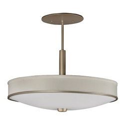 AFX - Sheridan Champagne Four-Light Pendant - - Matte white acrylic bowl diffuser in a transitional style, hard-backed linen side shade. 120-277V universal-voltage ballast   - Diffuser Type: Linen Shade  - Finish/Color: Champagne  - Cord/Steam Length: 36.0  - Unit Height: 24  - Unit Length: 25  - Unit Width: 25  - Item Weight: 18.0  - Does not include bulbs  - Material: Metal with Linen Shade AFX - SHP413ACMV