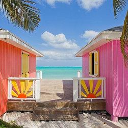 Magic Murals - Colorful Tropics Beach Bungalows Wallpaper Wall Mural - Self-Adhesive - Multiple - Colorful Tropics Beach Bungalows Wall Mural