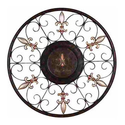 UMA - Regal Scrollwork Round Metal Wall Hanging - Round wrought iron wall hanging embellished with scrollwork and medallion designs