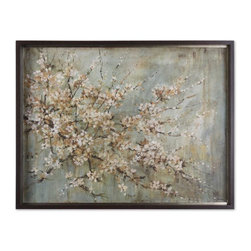 Grace Feyock - Grace Feyock Blossom Melody Traditional Wall Art X-99114 - This oil reproduction features a hand applied brushstroke finish. The frame has a medium taupe undertone with heavy dark brown and black glaze. Antique silver leaf inner lip with brown wash.