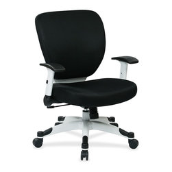 "Space Seating - Space seating Deluxe Mesh Task Chair, 26""x26.8""x38"", Black - Deluxe Mesh Task Chair with synchro-tilt control is a playful yet professional chair that features built-in lumbar support with a thickly padded mesh seat and back. A pressurized seat-height adjustment maintains you at the perfect level while the adjustable tilt tension lets you recline effortlessly. Height-adjustable arms with black padding flip back for your convenience while the dual-wheel carpet casters allow you to glide smoothly. The coated nylon five-star base features black end caps for visual appeal"