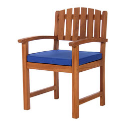 All Things Cedar - Dining Chair Cushions - Blue - Our chair cushions are made with 2 inches of Hi Density Foam covered with a soft-faced washable cotton canvas. Edges have reinforced  piping, tie downs and  notched corners keep the cushion snuggly positioned and a zippered fly allows for easy cleaning. Item is made to order.