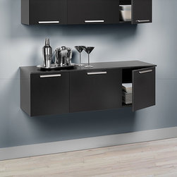 Prepac - Yaletown Black Wall-mounted Buffet - Use this trendy wall mounted buffet for a wide variety of uses. The stylish buffet features a black finish,self-closing hinges,and solid metal handles. It is made of durable MDF and composite wood and comes with a five-year limited warranty.