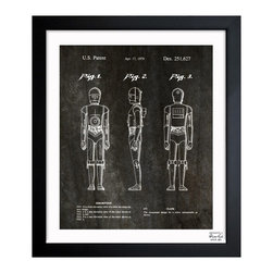 "The Oliver Gal Artist Co. - ''Robot 1979' 15""x18"" Framed Art - Exclusive blueprints inspired by real vintage patent drawings & illustrations. Handcrafted in the Oliver Gal Artist Co. Studios in Miami, Florida. Produced on matte proofing paper and hand framed by professional framers in a 1.2"" premium black wood frame. Perfect for any interior design project, gifts, office décor, or to add special value to one of your favorite collections."