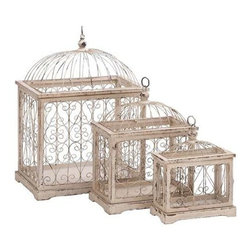 "Benzara - Metal Bird Cage with Celestial Designs - Set of 3 - Metal Bird Cage with celestial designs - set of 3. Style your home decor with this exquisitely designed bird cage. It comes with following dimensions: 20"" W x 14"" D x 27"" H. 15"" W x 10"" D x 19"" H. 12"" W x 6"" D x 15"" H."