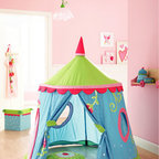 HABA Caro Lini Play Tent - The tent can be folded down completely. Made of cotton/polyester, mesh fabric, plastic rods.