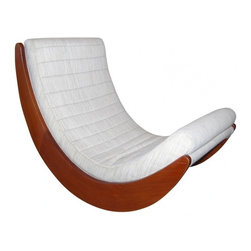 """ecofirstart - """"Relaxer"""" Rocking Chair - A midcentury classic in its own right, this modern rocking chair was inspired by iconic Danish designer Verner Panton and will allow you to lounge in style. The ergonomically correct structural base has been crafted of solid Malaysian mahogany and fitted with a PU foam-upholstered cushion. Go ahead, lean back, stay awhile."""