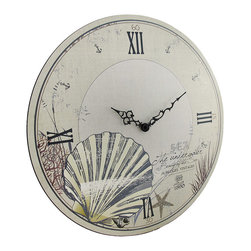 Zeckos - Round Beige Beach Themed Wall Clock 18 In. - This large round wall clock is a wonderful accent to nautical or beach themed decor in homes or offices. Made of wood, it measures 18 inches in diameter and features a lightly distressed ivory colored background with dark Roman numerals and hands to mark the time. It contains a quartz movement and runs on 1 AA battery (not included). This clock mounts to the wall with a single nail or screw by the metal triangle hanger on the back, and it is sure to be admired by all that view it.