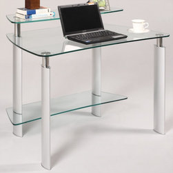 "Chintaly Imports - Clear Glass Computer Desk - Clear glass computer desk. Aluminum legs. Stainless steel round tube frame. Top glasses are tempered. Bottom glass is not.; Tempered top galss; Aluminum legs; Stainless Steel tube frame; Clear glass top; Dimensions:40""W x 26.89""D x 32.8""H"
