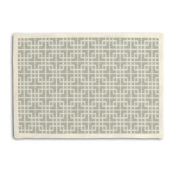 Gray Woven Square Lattice Tailored Placemat Set - Class up your table's act with a set of Tailored Placemats finished with a contemporary contrast border. So pretty you'll want to leave them out well beyond dinner time! We love it in this interlocking square trellis woven in pale silvery gray & white. equal parts plush & posh.