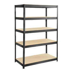 "Safco - Boltless Steel and Particleboard Shelving 48x24 - Stay strong with this boltless steel shelving unit. The sturdy steel construction is perfect for all the heavy duty shelving requirements found in the office, commercial and industrial environments. The flexible design allows the unit to be set up as a 5 shelf 72"" high shelving unit, or a 36"" high workbench. This unit will lend a clean look to any space with its hidden assembly and smooth lines. And depending on your needs, you can adjust the shelves in 1 increments. No need to take your time putting this one together, it assembles with no tools needed. Strength, utility, and ease: it's the perfect shelving unit! Includes particle board shelves. Powder coat finish in black. Paint Finish: Black Powder Coat Finish; Shelf Adjustablity: 1"" increments; Shelf Quantity: 5; Limited Lifetime Warranty; Dimensions: 48W x 24D x 72H"""