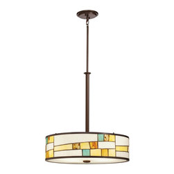 Kichler Lighting - Kichler Lighting Michaela Tiffany Pendant Light X-44356 - The Kichler Lighting Michaela Tiffany Pendant Light comes with a refreshing designed Tiffany glass shade. The Shadow Bronze finish adds color variety  to the overall design by building a great color contrast. The shade is elegantly complemented with the design of the stem.
