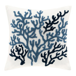 Harbor House - Harbor House Beach House Decorative Pillow - Bring a sense of the sea side into your home with this beautiful, casual Beach House bedding collection. The Square Pillow features an embroidered coral pattern. Body: 100% cotton twill with towel embroidery Filling: 100% polyester