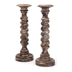 Go Home - Pair of Wooden Twisted Candlesticks - A wonderful pair of wooden candlesticks add intrigue to your next candlelit dinner with this pair of fabulously sculpted candlesticks.Perfect medium for holding candles nicely.