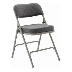 KFI Seating - Folding Chair w Fabric Padded Seat & Back- Se - Fabric: Navy BlueSet of 2 folding chair. Grey frame. Grey fabric: 1.25 in. padded seat and back. Navy fabric: 2 in. padded seat and back. Double hinged. 0.88 in. Round. Double riveted cross-braces. Non-marring floor glides. Pictured in Grey fabric. 18.5 in. W x 19.75 in. D x 30 in. H