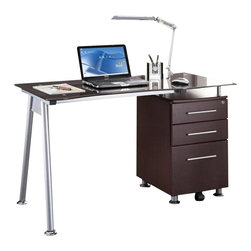 Techni Mobili - Techni Mobili Tempered Glass Top Computer Desk in Chocolate - Techni Mobili - Computer Desks - RTA1565CH36 - Elegant and sophisticated two words that come to mind when you see the Techni Mobili Tempered Glass Top Computer Desk in Chocolate. This versatile desk includes a 3 drawer cabinet with a letter size hanging file cabinet. The Techni Mobili Tempered Glass Top Computer Desk in Chocolate is the perfect compact solution to any type of office setup.