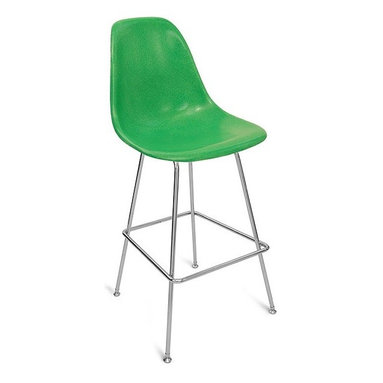 """Modernica H Base 30"""" Barstool Side Shell Chair - The Case Study Fiberglass 30"""" Barstool is a simple and clean look. Pick your favorite shell for a visually solid chair that will look great in any situation."""