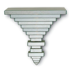 Currey and Company - Parallel Wall Bracket - An exquisitely cutting edge edition to any room. A geometrically carved, modern form covered in thin strips of antiqued mirror. Parallel lines create a pyramid that points towards the ground .