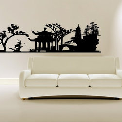 StickONmania - Asian Garden Landscape Sticker - A nice vinyl sticker and wall art design for your home  Decorate your home with original vinyl decals made to order in our shop located in the USA. We only use the best equipment and materials to guarantee the everlasting quality of each vinyl sticker. Our original wall art design stickers are easy to apply on most flat surfaces, including slightly textured walls, windows, mirrors, or any smooth surface. Some wall decals may come in multiple pieces due to the size of the design, different sizes of most of our vinyl stickers are available, please message us for a quote. Interior wall decor stickers come with a MATTE finish that is easier to remove from painted surfaces but Exterior stickers for cars,  bathrooms and refrigerators come with a stickier GLOSSY finish that can also be used for exterior purposes. We DO NOT recommend using glossy finish stickers on walls. All of our Vinyl wall decals are removable but not re-positionable, simply peel and stick, no glue or chemicals needed. Our decals always come with instructions and if you order from Houzz we will always add a small thank you gift.