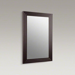 """KOHLER Engineered Wenge Escale® 26"""" W X 38"""" H Wood-frame Mirror - Part of the Japanese-inspired Escale collection, the Escale mirror brings a sleek modern look to your bath or powder room with its deep, beautiful wood finish and carved grooves. Pair it with an Escale vanity for a coordinated set."""