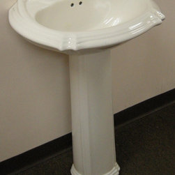 Fine Fixtures - Ceramic 22-inch Biscuit Pedestal Sink - Upgrade the decor of your bathroom with this pedestal sink. Made from durable ceramic in a biscuit hue,this sink will be the highligh of your home improvement project.